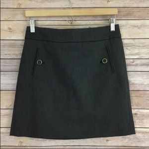 LOFT Gray Skirt With Button Pocket Detail